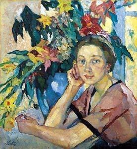 Leo Putz (1869-1940) Mädchen mit Blumen  - courtesy of Kunstmarkt.com