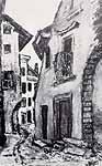 """Leo von Welden (1899-1967) """"Das rote Haus"""". ca. 1965"""