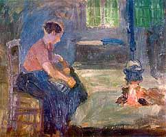 """Fritz Mackensen (1866-1953) """"An der Feuerstelle"""", 1895"""