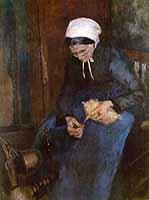 """Fritz Mackensen (1866-1953) """"Die alte Wollspinnerin"""", 1891"""