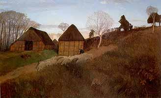 """Otto Modersohn (1865-1943)  """"Abend am Weyerberg mit Schafherde"""", ca 1900"""