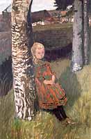 """Otto Modersohn (1865-1943) """"Maedchen am Birkenstamm"""". ca 1901"""