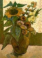 """Paula Modersohn-Becker (1876-1907) """"Stilleben mit Sonnenblumen und Malven"""", 1907"""