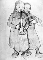 """Paula Modersohn-Becker (1876-1907) """"Zwei Bauernmaedchen mit Trompeten"""" ca. 1904"""