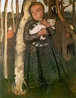 "Paula Modersohn-Becker (1876-1907) ""Maedchen im Birkenwald mit Katze, ca. 1905"