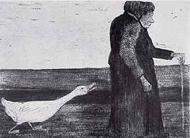 "Paula Modersohn-Becker (1876-1907) ""Die Frau mit der Gans"", ca 1899"