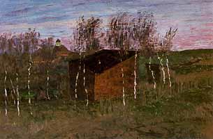"""Fritz Overbeck (1869-1909) """"Atelier auf dem Weyerberg mit Sandkuhle und Kirche"""", ca 1896"""