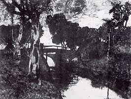 """Fritz Overbeck (1869-1909) """"Bruecke im Moor"""", 1895"""