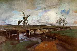 """Carl Vinnen (1863-1922) """"Landschaft mit Windmuehle"""", 1912"""