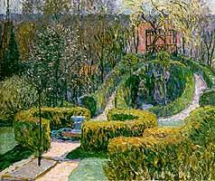 """Johannes Heinrich Vogeler (1872-1942) """"Fruehlingshecken im Bauerngarten"""", 1913"""