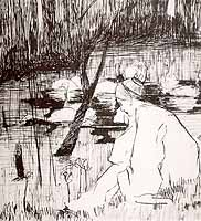 """Johannes Heinrich Vogeler (1872-1942) """"Die sieben Schwaene"""", 1898"""