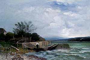 """Adolf Gustav Schweitzer (1847-1914) """"Fischer auf der Fraueninsel"""""""