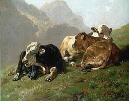 "Anton Braith (1836-1905) ""Ruhende Kaelber"", 1888"