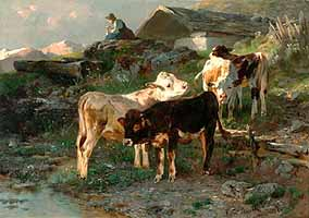 "Anton Braith (1836-1905) ""Calves by A Stream in Sunlight"", 1882  - courtesy of Live Auctioneers"