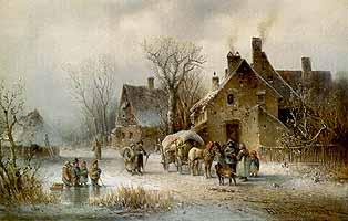 """Anton Doll (1826-1887) """"Winterliche Dorfszene mit Strassenverkaeufer und Passanten"""", ca 1875"""