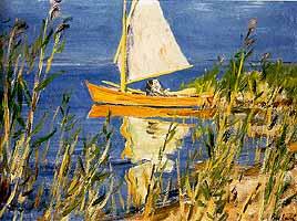 """Arnold Balwe (1898-1983) """"Segelboot im Schilf"""", ca. 1950"""