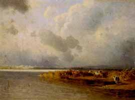 "Carl Bolze (1832-1913) ""Kuehe am Chiemseeufer"""