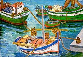 """Elisabeth Balwe-Staimmer (1896-1973) """"Vertaeute Fischerboote"""", ca. 1960"""