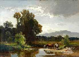 """""""Teichlandschaft mit Kühen""""Fritz Halberg-Krauss (1874-1951)  """"Teichlandschaft mit Kühen"""""""