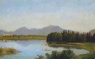 """Georg Heinrich Crola (1804-1879) """"Blick auf Herrenchiemsee mit Hochfelln und Hochgern"""""""