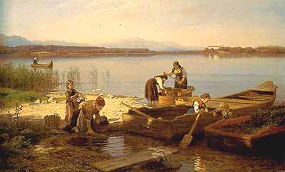 """Hans Frederik Gude (1825-1903) """"Sonniger Morgen am Chiemsee in Bayern"""""""
