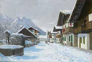"""Hans Maurus (1901-1942) """"Winterliche Strasse in Garmisch"""", courtesy of Auktionshaus Walldorf"""