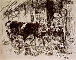 Heinrich von Zuegel (1850-1941) Bauernmagd mit Kaelber