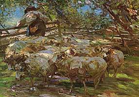 """Heinrich von Zuegel (1850-1941) """"Schafherde am Gatter"""" 1915"""
