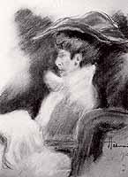 "Hugo, Freiherr von Habermann (1849-1929) ""Elegante Frau im Stuhl"""