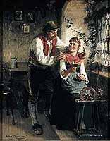 """Hugo Kauffmann (1844-1915) """"Junges Paar am Fenster"""","""