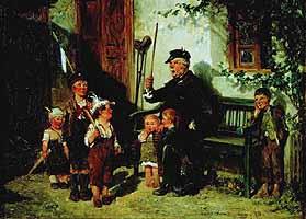 """Hugo Kauffmann (1844-1915) """"Großvater mit Kindern Soldat spielend"""""""