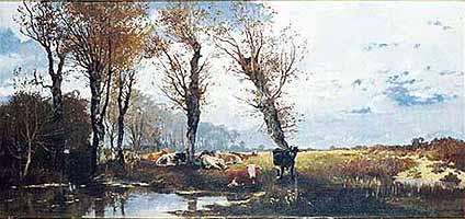 """Josef Wenglein (1845-1919) """"Landschaft mit Viehherde"""""""