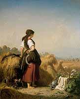 """Julius Koeckert (1827-1918) Julius Koeckert (1827-1918) """"Eine Schnitterin bei den Garben stehend ..."""""""
