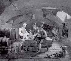 """Karl Altmann (1800-1861) """"Im Zerwirkkeller (Wilddiebe mit dem Wirte unterhandelnd)"""