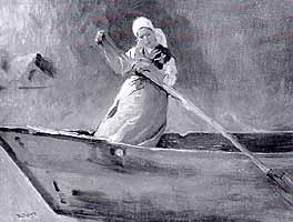 """Karl Raupp (1837-1918) - """"Bauernmaedchen im Nachen"""", ca. 1900"""
