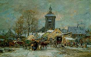 """Karl Stuhlmueller (1859-1930) """"Viehmarkt in Erding"""""""