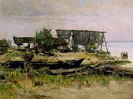 """Louis Woehner (1888-) """"Auf der Fraueninsel"""""""