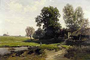 """Ludwig Willroider (1845-1910) """"Bauernhof mit Teich"""" 1886"""