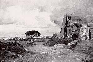 """Moritz Erdmann (1845-1919) """"Blick auf Rom"""""""