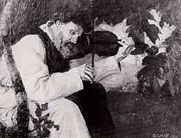 """Oskar Graf (1873-aft 1937) """"Geigenspielender Moench"""""""