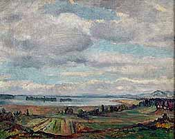 Otto Scheinhammer (1897-1982) Weiter Blick über den Chiemsee auf die Fraueninsel