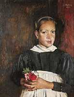 """Paul Mathias Padua (1903-1981) """"Maedchen mit Blumen"""" , courtesy of Galerie Schueller, Munich"""