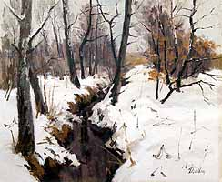 "Paul Paulus (1915-) ""Bach im Winter"" - courtesy of Inselgalerie Gailer, Fraueninsel"