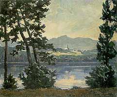 """Paul Roloff (1877-1951) """"Blick ueber den Simsee nach Neukirchen"""""""