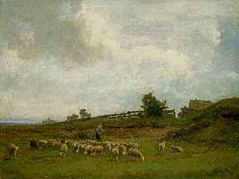 """Philipp Roeth (1841-1921) """"Schafherde bei Gern"""", ca. 1880"""