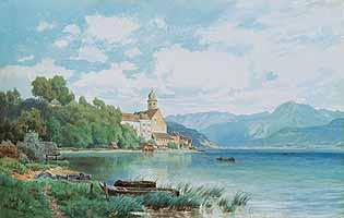 """Philipp Roeth (1841-1921) """"Ansicht von St. Wolfgang"""""""