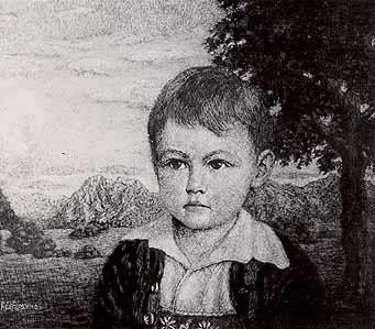 "Rudolf Riemerschmid (1873-) ""Sohn des Malers vor Landschaft"""