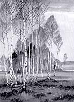 """Rudolf Sieck (1877-1957) """"Birken im Vorfruehling, Harrasser Moor"""", ca. 1936"""