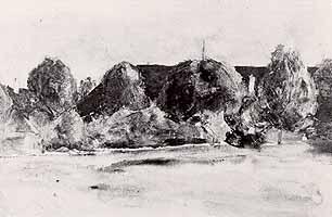 """Sion Longley Wenban (1848-1897) """"Haeuser hinter Baeumen"""""""