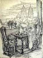 """Walter Puettner (1872-1953)  """"Muenchen, Blick auf die St. Benno Kirche"""""""